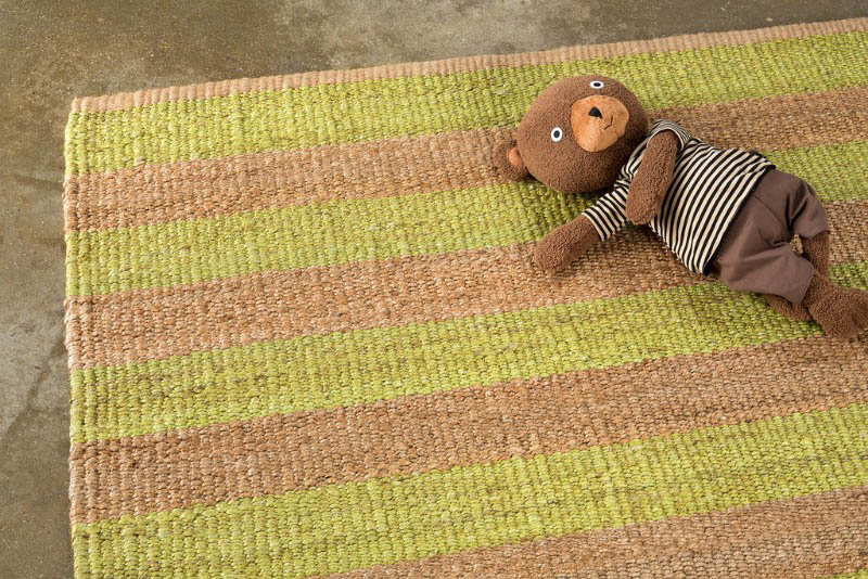 Armadillo Nest Weave Rug- Awning Stripe- Citrus/Natural