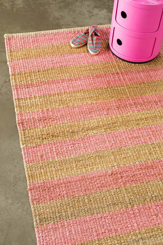 Armadillo Nest Weave Rug- Awning Stripe- Rosewater/Natural