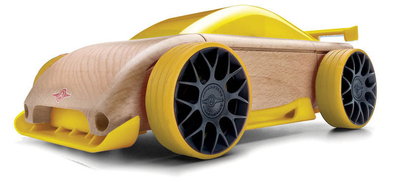 Automoblox-Wooden Cars-Mini C9R Sports Sedan {Yellow}