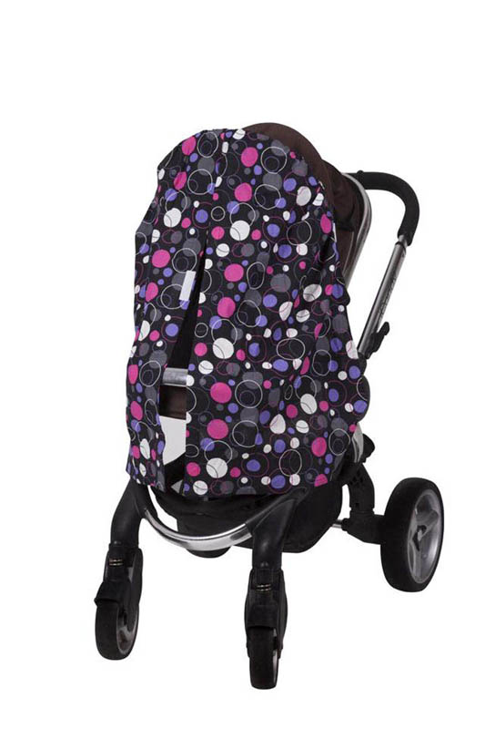 Bambella Designs-Pram Privacy Swag Covers {Purple Circles}
