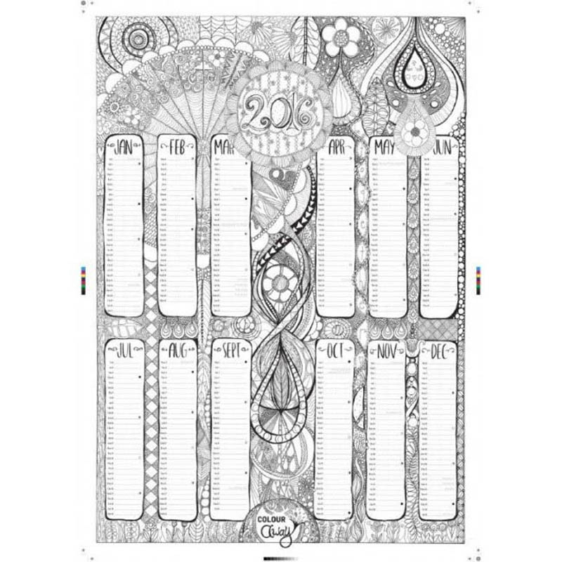 ColourAway 2016 Wall Art Calendar & 12 FREE Pens