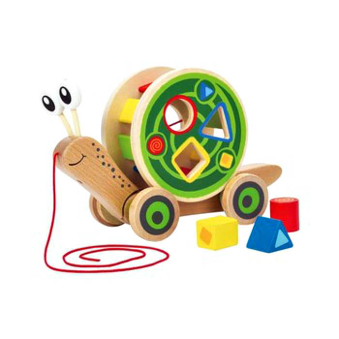 Hape-Wooden Toys- Pull and Play Shape Sorter Snail