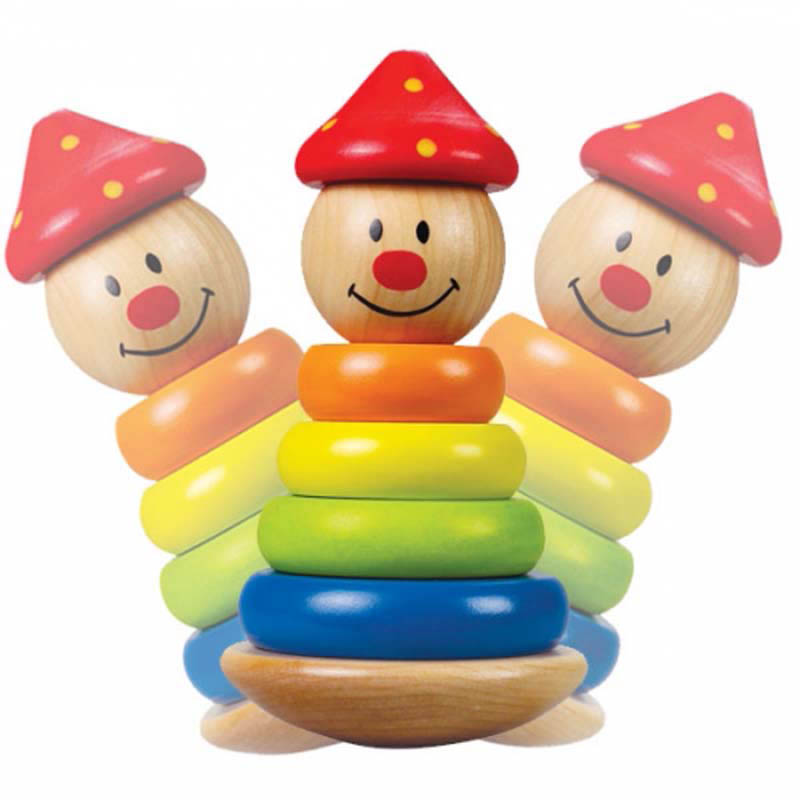 Hape - Wooden Toys - Stack and Swivel Clown
