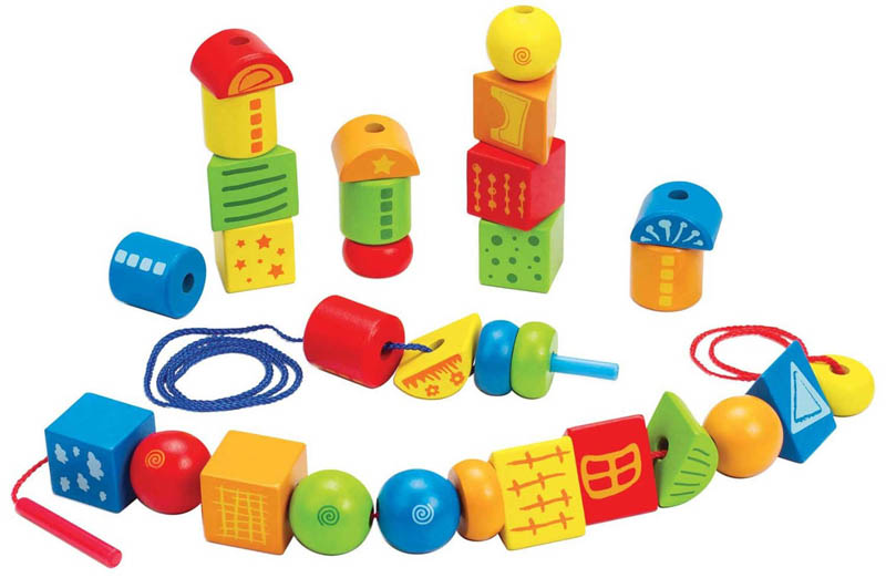 Hape - Wooden Toys - String Along Shapes