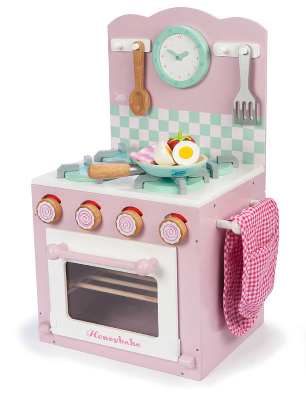 Le Toy Van- Kids Wooden Kitchen Toys- Oven and Hob Set {Pink}
