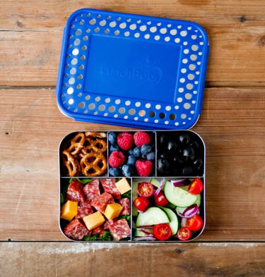 LunchBots Stainless Steel Lunch Box - Bento Cinco BLUE DOTS