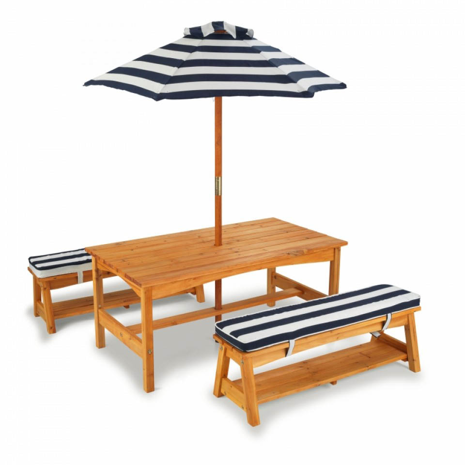 Outdoor Table & Bench Set with Cushions & Umbrella- NAVY