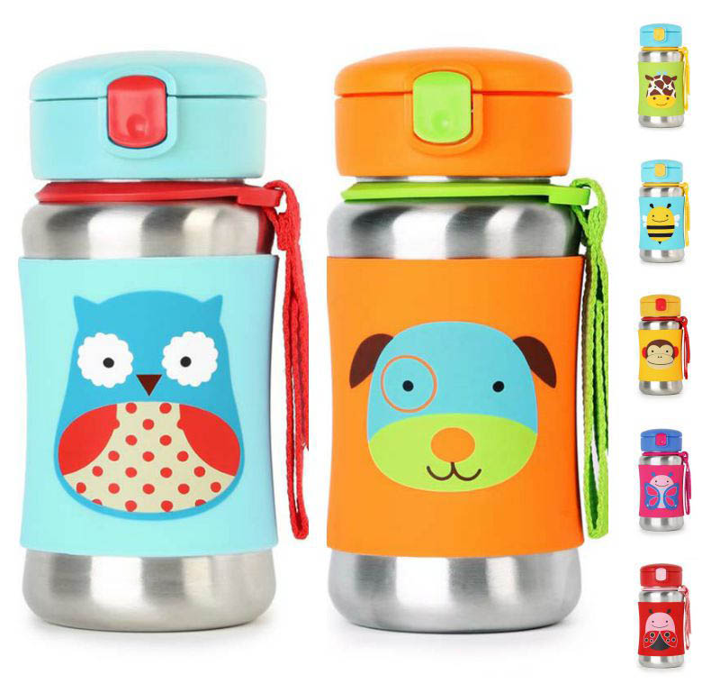 Skip Hop Zoo Stainless Steel Drink Bottle with Straw