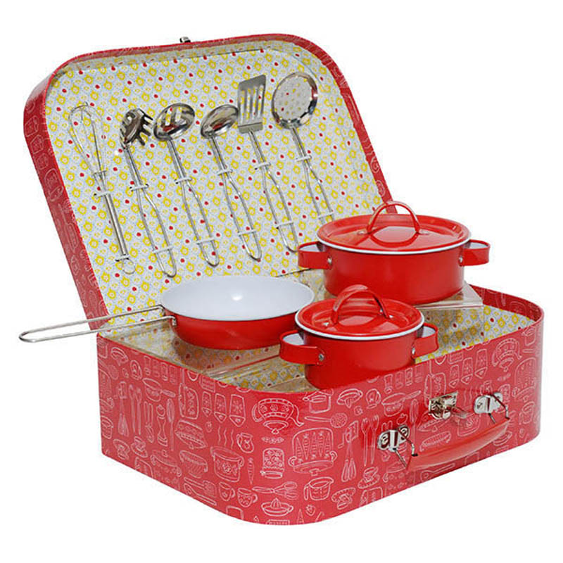 Tiger Tribe-Vintage Tin Kitchen Set- Red