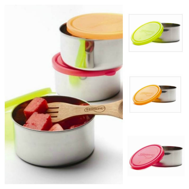 U-Konserve- Steel Lunchboxes-Large Round Containers {Neon}