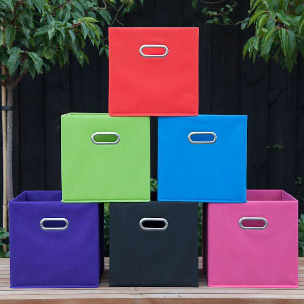 Black 6 Cube Kids Toy Games Storage Unit Girls Boys: Fabric Cube Storage Boxes